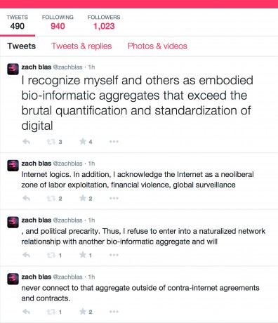 Zach Blas, Contra-Internet: User's Agreement / Social Media Exodus.(2014-present) Image courtesy the artist. Photo: Zach Blas