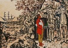 Gordon Bennett, Study for Possession Island (1991) oil, acrylic and gouache on illustration board (65 x 100 cm). Collection: Wavell State High School, Brisbane. Photography: John O'Brien. Copyright The Estate of Gordon Bennett.