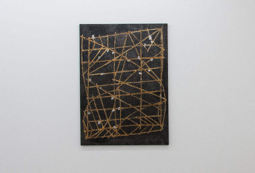 Daniel Boyd, Untitled (MINCC), 2014. Oil, charcoal and archival glue on canvas, 181 x 131 cm. Courtesy of the artist, STATION Gallery, and Roslyn Oxley9 Gallery