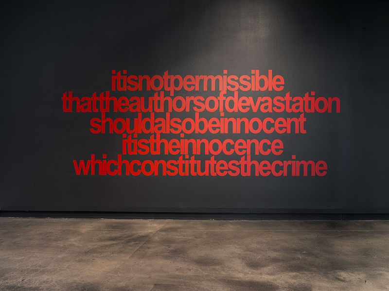 Vernon Ah Kee  authors of devastation, 2016  320 x 240 cm acrylic on linen  installation view Griffith University Art Gallery Image courtesy of the artist and Milani Gallery Brisbane